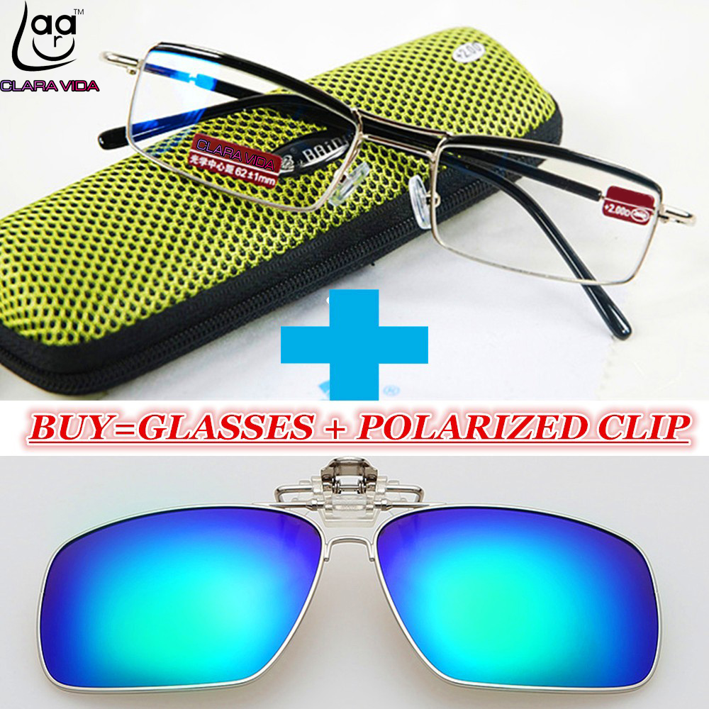 !!!A POLARIZED CLIP AND CLASSIC MEN TITANIUM ALLOY BLUE COATED LENSES BUSINESS DOUBLE BRIDGE READING GLASSES+1+1.5+2+2.5+3+3.5+4
