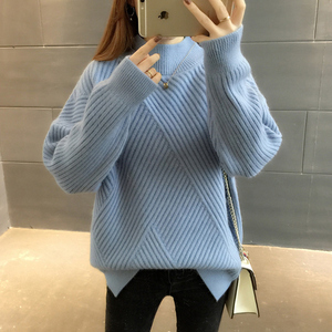 Image 5 - PEONFLY New 2019 Loose Thick Warm Winter Pullover Sweater Women Jumper Half Turtleneck Long Sleeve Knit Yellow Sweater Female