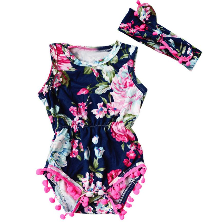 Printing Newborn Infant Toddler Baby Girls Floral Romper Jumpsuit Sunsuit Clothes Set Aug 16