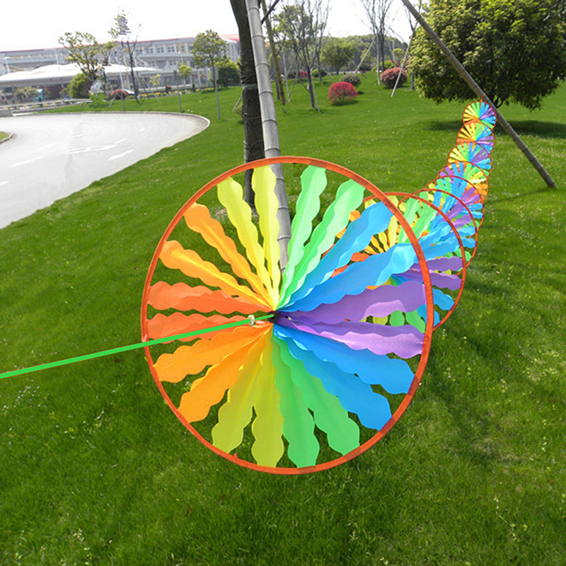 New Rainbow Wheel Windmill Wind Spinner Whirligig Garden Funny Children Toys ...