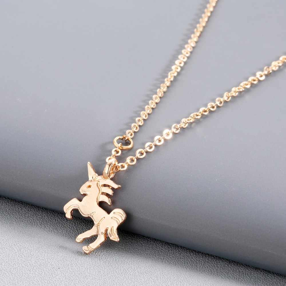 Kinitial Cute Unicorn Necklace Horse Pendant Cartoon Animal Choker Necklaces&Pendants for Girl Statement collares Jewelry