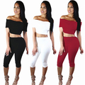Women's Fashion Summer Off Shoulder Sexy Strapless Short-sleeved Two-piece Set