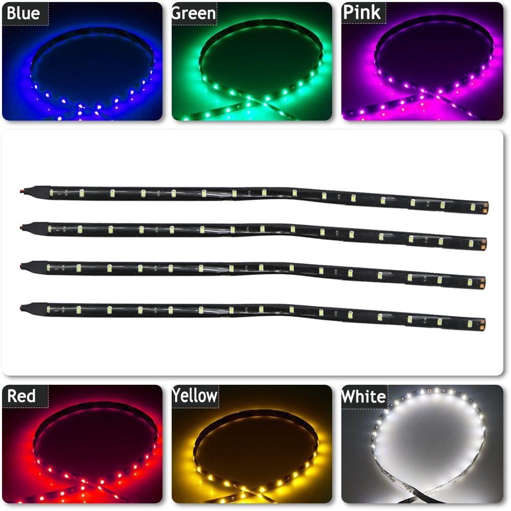 4х 30см 15-LED светодиодные ленты гибкие ленты света для авто автомобилей дневного света DRL Водонепроницаемый украшение автомобилей свет стайлинга