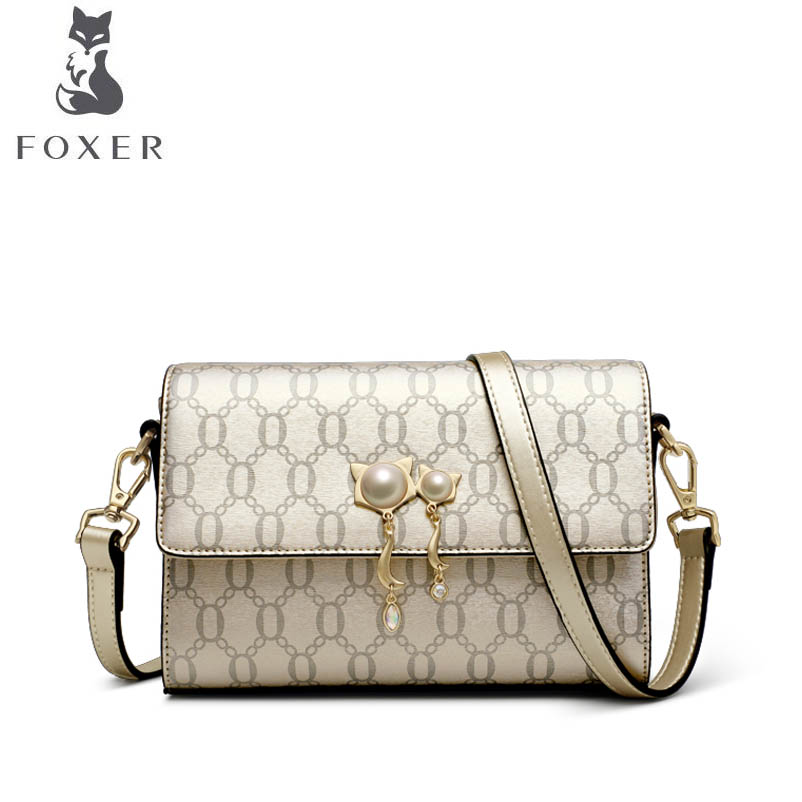 FOXER 2018 New women leather bag luxury handbags designer Geometric embossing small bag fashion Wild women leather shoulder bag