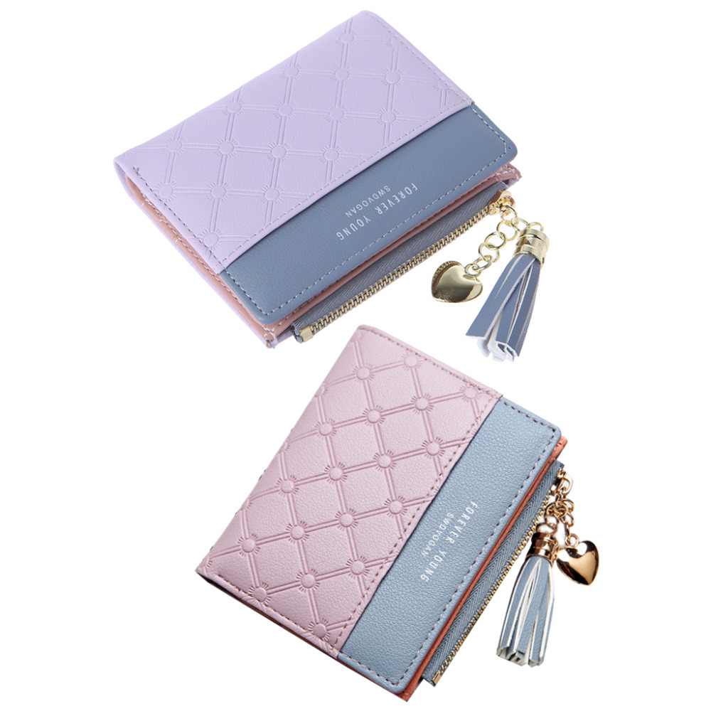 THINKTHENDO 5 Color New Money Clips Women Tassel Coin Bag Leather Lady Simple Bifold Small Purse Mini