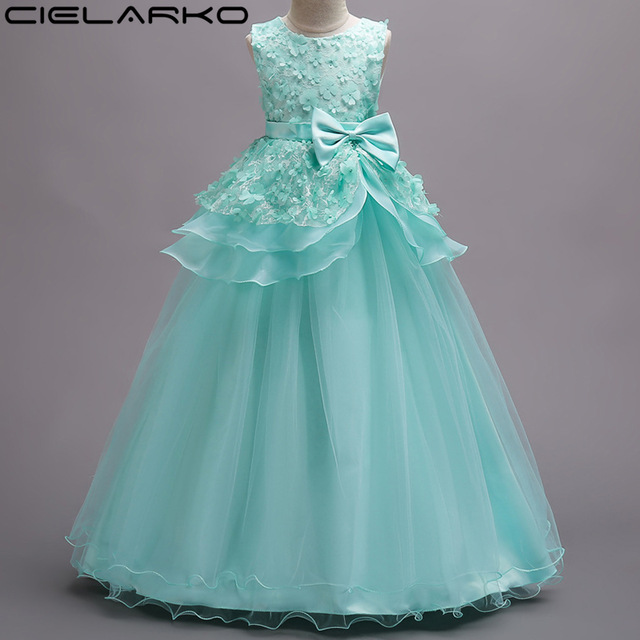 477080a406a2 Cielarko Big Girls Dress Teenage Flower Lace Dresses Ankle Length Layered  Children Party Frocks Kids Stage