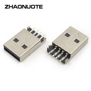 100pcs USB Adapter DC Power Plug Socket Male 180 Degree Horizontal Plug Pin Patch