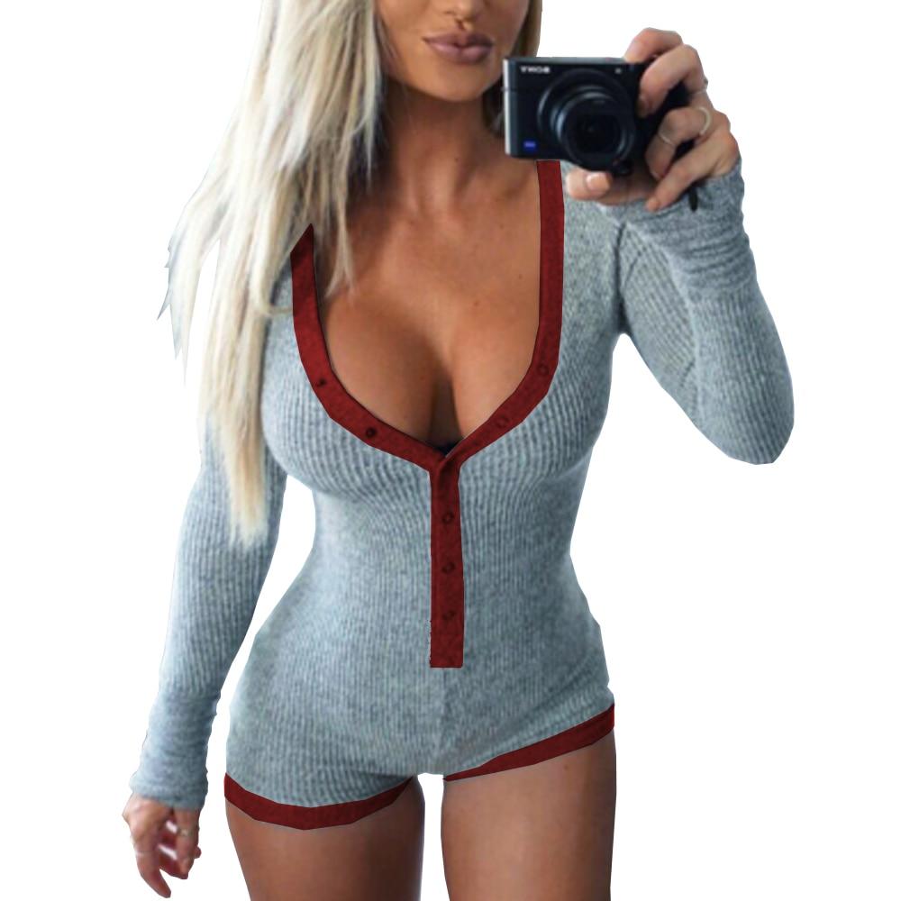Preself Sexy Bodys strampler Bodycon Bandage Overall Frauen Dünne Kurze Baumwolle Gestrickt Lange Ärmel V-ausschnitt Overall Herbst 2018