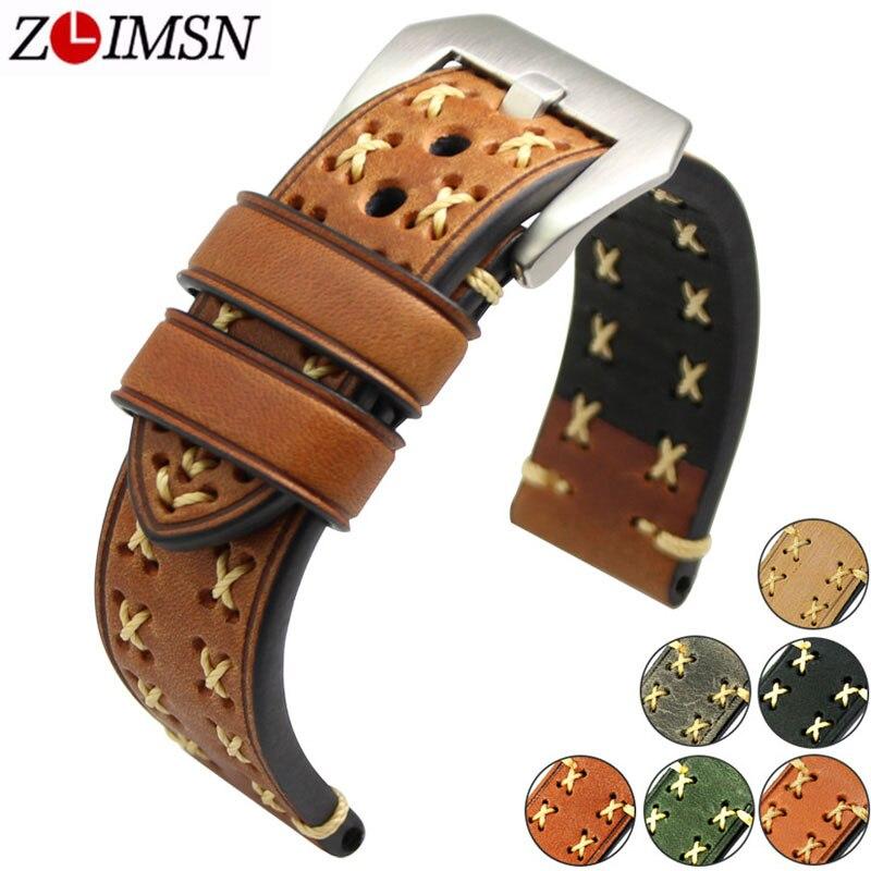 ZLIMSN Épais Réel Cuir Véritable Bracelet De Montre 26mm 24mm 22mm 20mm Bande de Montre En Argent Montres bracelet pour Panerai Bandes de montre