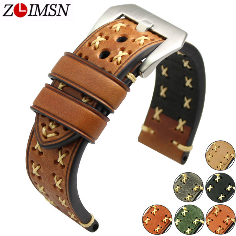 ZLIMSN Thick Real Genuine Leather Watch Strap 26mm 24mm 22mm 20mm Watch Band Silver Watches  wristband for Panerai Watchbands цена и фото