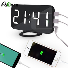 LED Digital Alarm Clock USB Charging Snooze Function Time Memory Mirror Clock Electronic Desktop Table Clocks Home Decoration(China)