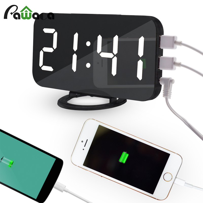 LED Digital Alarm Clock USB Charging Snooze Function Time Memory Mirror Clock Electronic Desktop Table Clocks Home Decoration