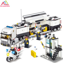 sermoido Police Station Motorcycle Modle Building Blocks DIY Bricks Set Educational Toys For Children Compatible City