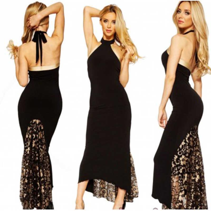 秋のドレス女性ブラックプラスサイズレースパッチワークゴールドフローラル魚尾ビーチホルターネックビキニセットマキシドレスvestidoデ·フェスタm-xl