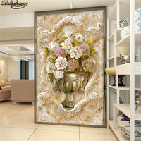 Beibehang Custom Photo 3D Wallpaper Stereo Concave Convex European Style Marble Painting Vase Embossed Mystery TV