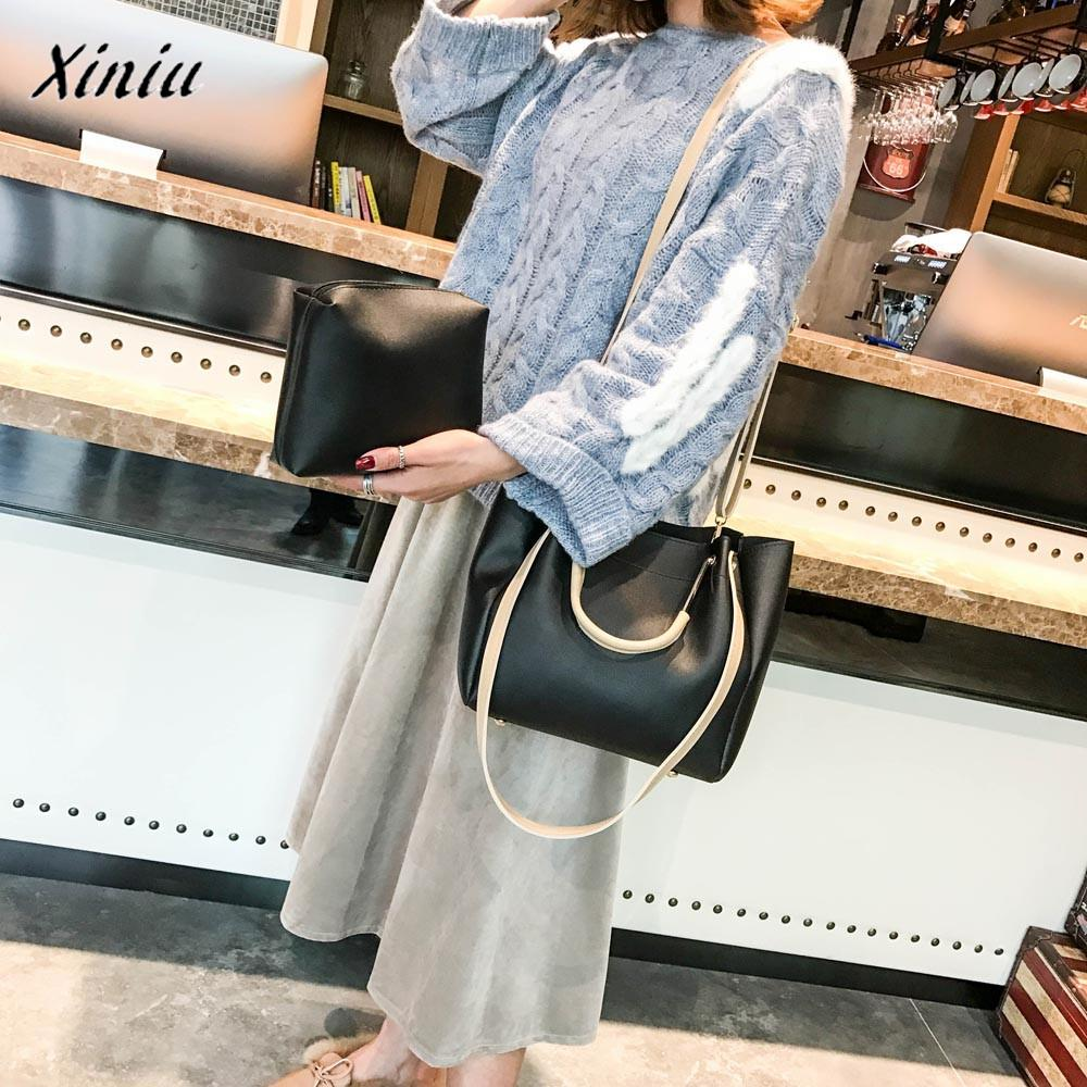 Symbol Der Marke Xiniu Qualität 2 Stücke Designer Modefrauentasche Zwei Set Handtasche Leder Tote-schulterbeutel Zwei Stücke Flap Clutch Crossbody Tasche Und Ein Langes Leben Haben.