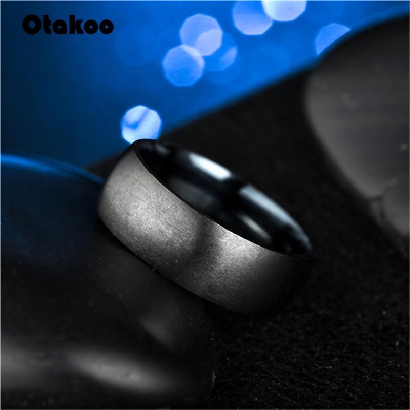 Otakoo 2018 New Black Men Ring 100% Titanium Carbide Men's Jewelry Wedding Bands Classic Boyfriend Gift 2