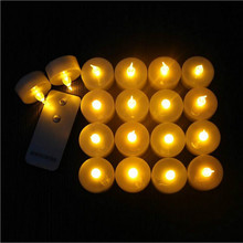 16Pcs/Set Flickering Blinking LED Candle Tea Light with Remote Control Battery Operated Tealight for Christmas Party Secoration