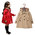 Hot Children clothing Coats girls Spring and Autumn Trench coat Girls Hooded Jacket Outerwear 4 Colors Free shipping