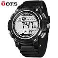 OTS Fresco Digital-relógio Digital Esportes Homens 50 M Mergulho 55 MM Grande Dial Horas Luminosa Militar Ao Ar Livre de Pulso 2016 Moda