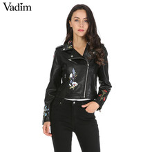 Frauen blume embroridery PU leder jacken mantel epaulet long sleeve zipper taschen jacke damen mode streetwear tops CT1436(China)