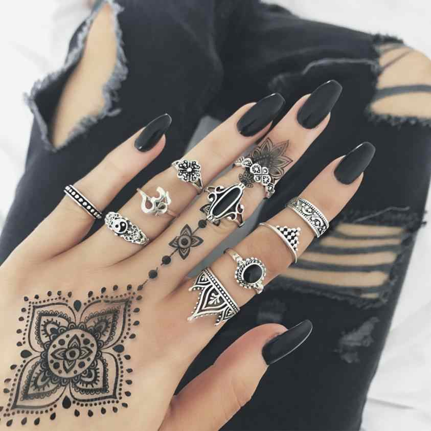 10pcs/Set Women Rings Bohemian Vintage Silver Stack Rings Aneis Above Knuckle Blue Ring Set Ornaments Jewelry Accessories Anel