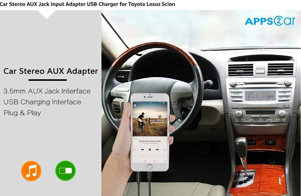 US $32 29 5% OFF|APPS2Car Car Stereo AUX Input Adapter Auxiliary MP3 Kit  USB Charger Port [New Generation] for Select Toyota Lexus radio-in Car MP4  &