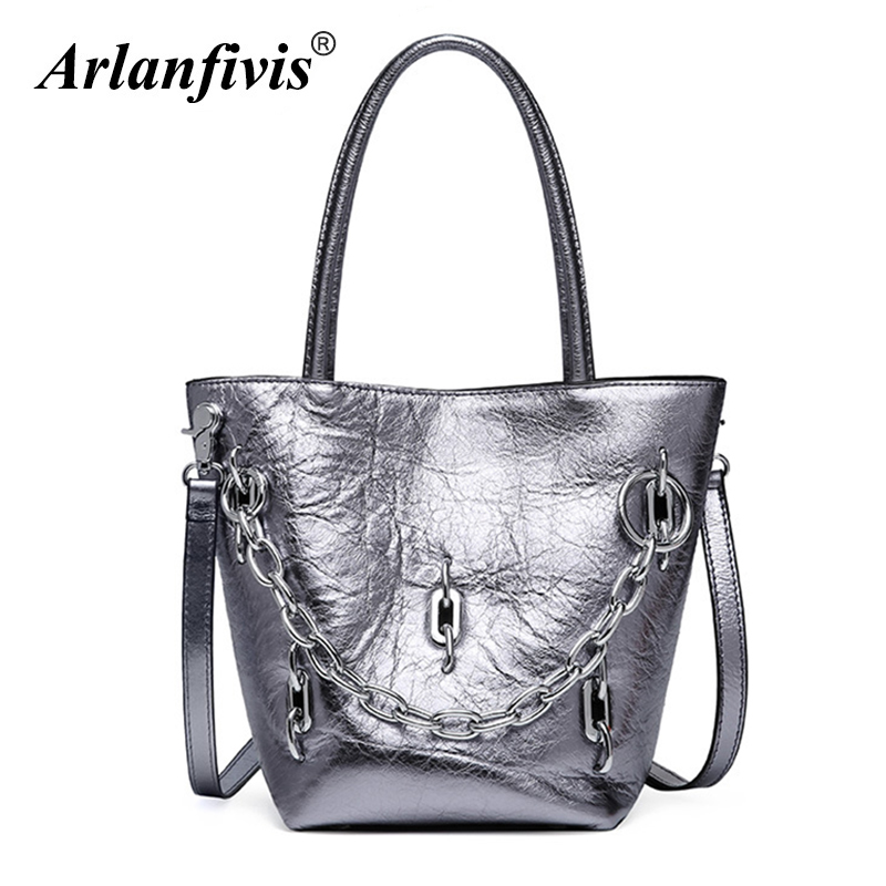 Arlanfivis Genuine Leather 2018 New Fashion Stylish Glitter Bag Handbag women bag Chain Bucket hand bag Crossbody Bag For Women stylish letter applique fries pattern bucket hat for women