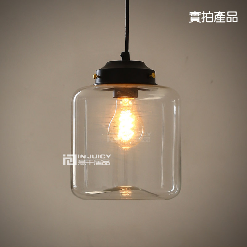 Loft E27 Edison Industrial Candy Jar Clear Glass Pendant Lights Antique Brass Pendant Lamps Fixtures Cafe Restaurant Droplight