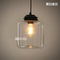 Loft E27 Edison Industrial Candy Jar Clear Glass Pendant Lights Antique Brass Pendant Lamps Fixtures Cafe Restaurant Droplight