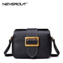 NeverOut Genuine Leather Bag Classic Retro Hardware Solid Messenger Bag Fashion Female Shoulder Sac Crossbody Bags for Women