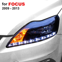 Headlight Assembly for Ford Focus 2009 2010 2011 2012 2013 Left Right with LED DRL Running Light and Yellow Turning Signal Light