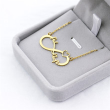 лучшая цена Gold Infinity Nameplate Choker Hebrew Necklaces For Women Men Islamic Jewelry Personalized Arabic Name Necklace Bridesmaid Gift