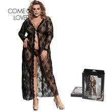 Damskie szaty bielizna nocna kostki czarne koronkowe przezroczyste szaty Femme Sexy długie rękawy śpiące Kimono laleczka bobas Mujer RE80232