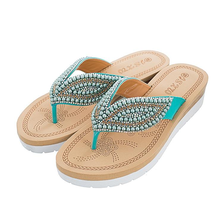 MLJUESE 2018 mujeres zapatillas de verano de color azul de cristal - Zapatos de mujer - foto 2