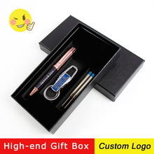 1set Personalized Business Office Metal Ballpoint Pens Rotate Advertising Pen Students Stationery Free Custom LOGO With Gift Box 1 pcs big pearl metal ballpoint pen rotate signing pens student stationery office business metal ball pen