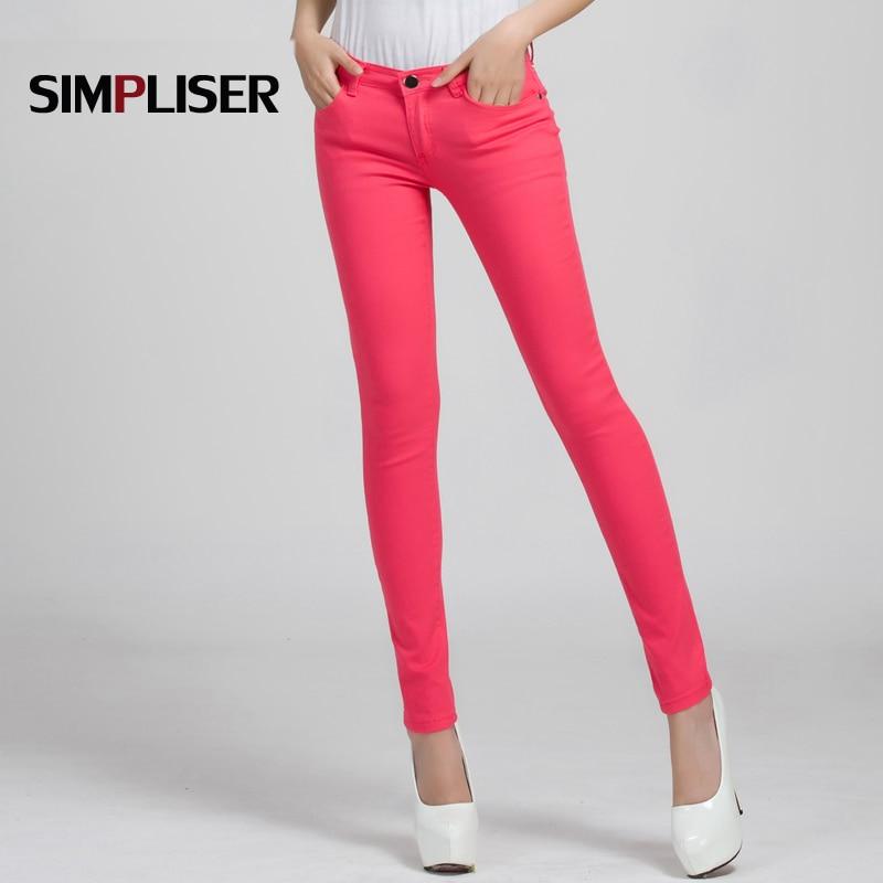 2019 Candy Color Women   Jeans   Pencil Pants Plus Size Stretch   Jeans   Leggings Female Trousers 25-31 Skinny Denim   Jeans   Pant