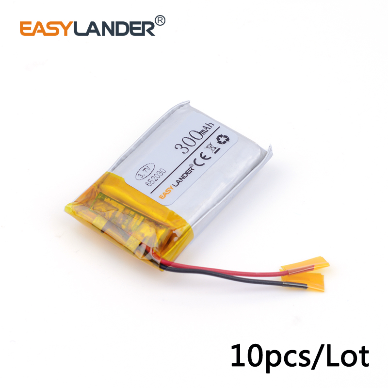 10 шт./лот 652030 300 мАч 3.7 В литиевых литий-ионный полимерный аккумулятор высокой скорости аккумулятора емкость батареи