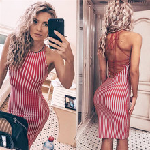 2018 Summer Women Red Striped Dresses Autumn Sundress Sexy Bodycon Strap Backless Mini Party Dress For Women Female Vestido(China)