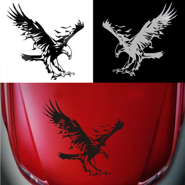 Funny Eagle Pattern Reflective Material Car Stickers Engine Hoods ...