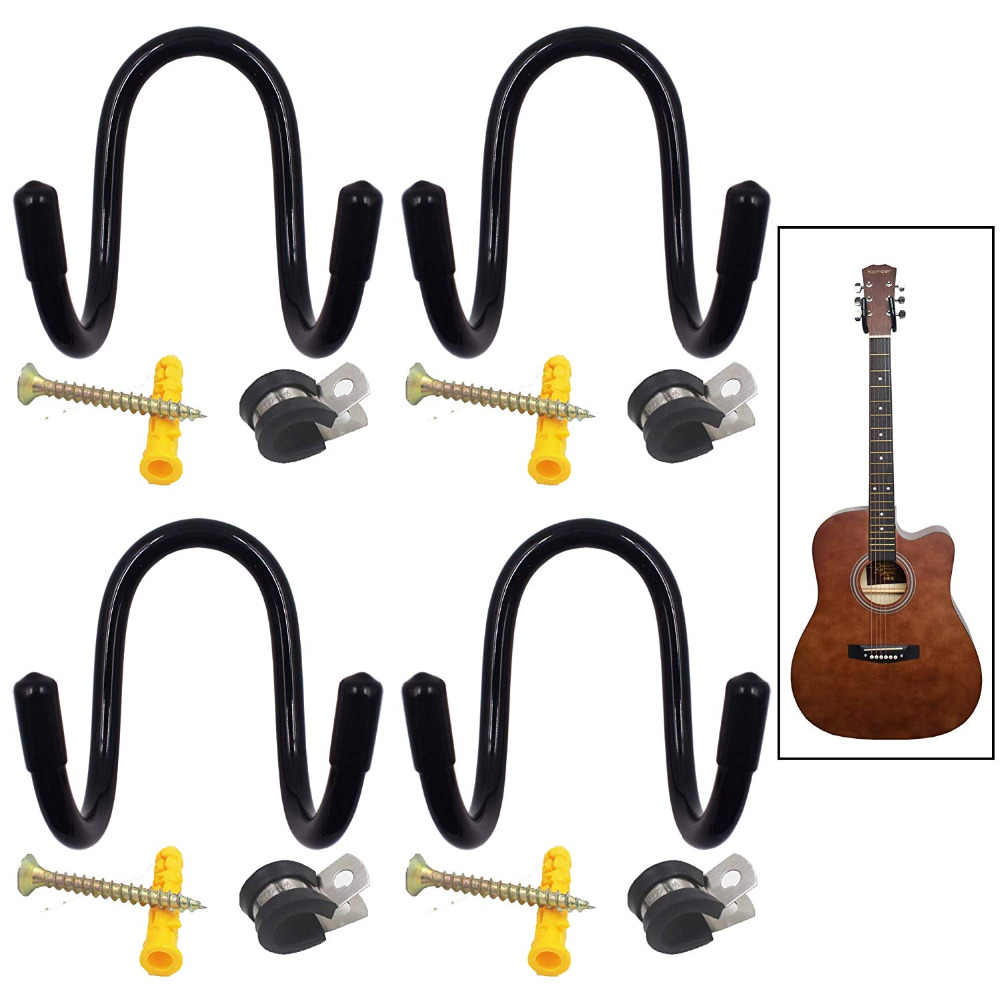 W Style Adjustable Wall Mount Hanger Storage Display Rack For Guitar,Acoustic,Voilin,etc - 4/PK