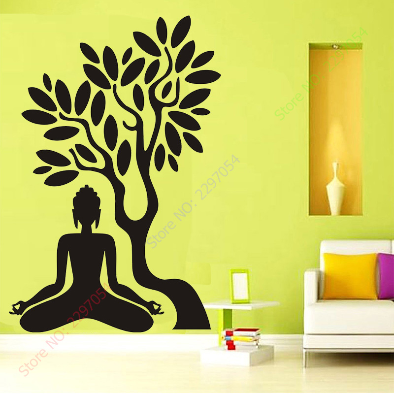 Buddha Vinyl Decal Buddha Tree Blossom Yoga Meditation Relaxation ...