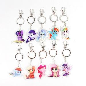 Image 2 - New 5.5cm My Little Pony Toys Charm Twilight Sparkle Rainbow Dash Fluttershy Pendant Key Holder Pony Keychain Party Supplies