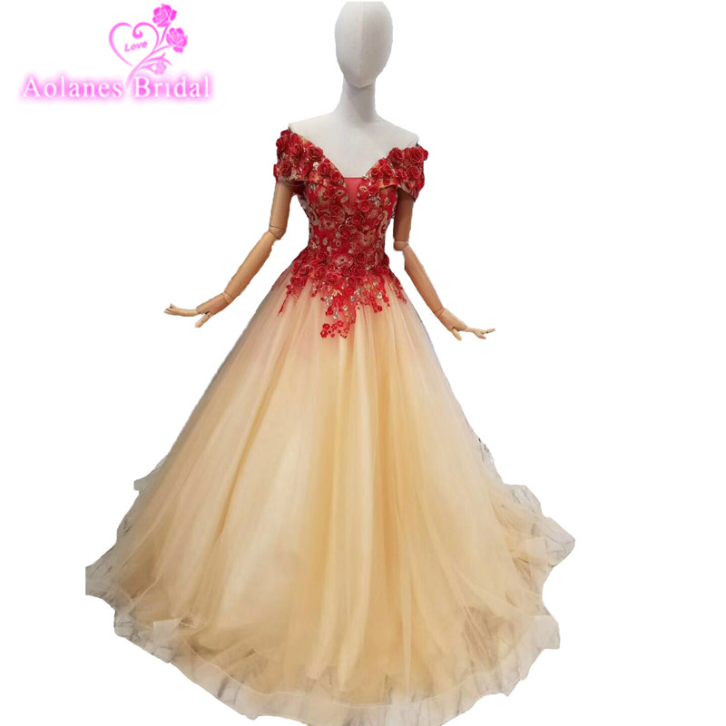 2018 Cheap Red Lace Champagne Tulle V-neck A-line Evening Dresses Sleeveless Floor-length Off The Shoulder Party Prom Dress Gown