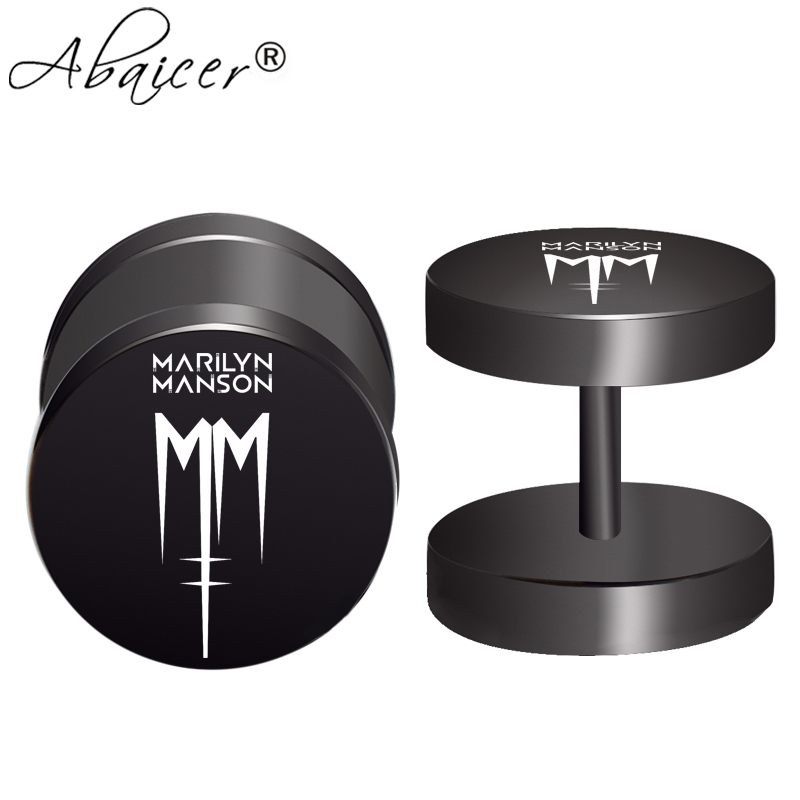 2pcs/Lot Marilyn Manson 2 Rock Band Fake Ear Gauge,Plugs And Tunnels,Fake Piercing Expander Stretcher, Punk Earring Gift For Man