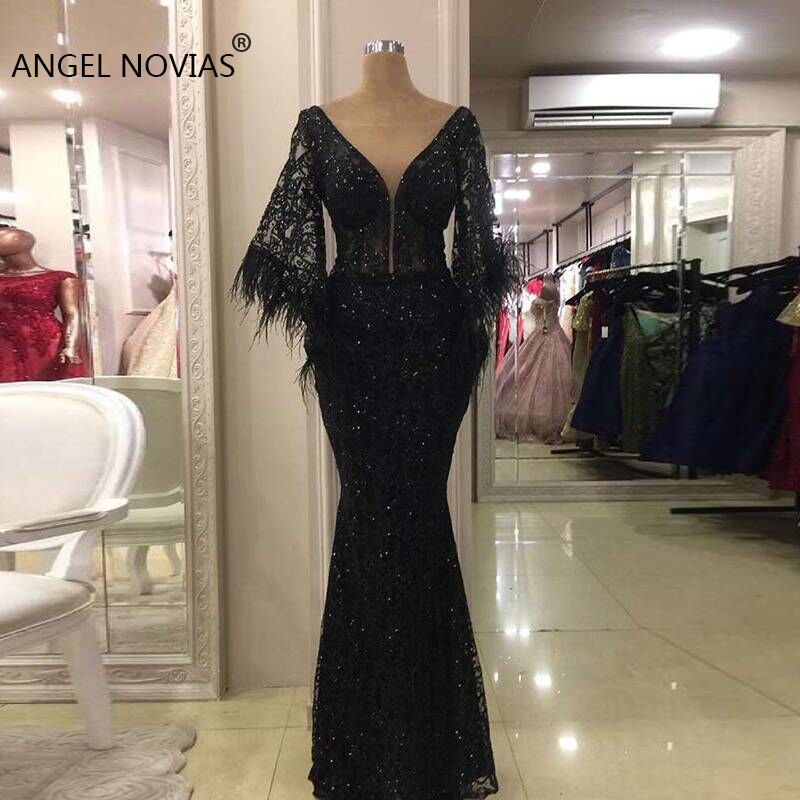 Long Black Glitters V Neck Lace   Evening     Dress   2019 with Feather Saudi Arabia Dubai Moroccan Sexy Formal Prom Gowns