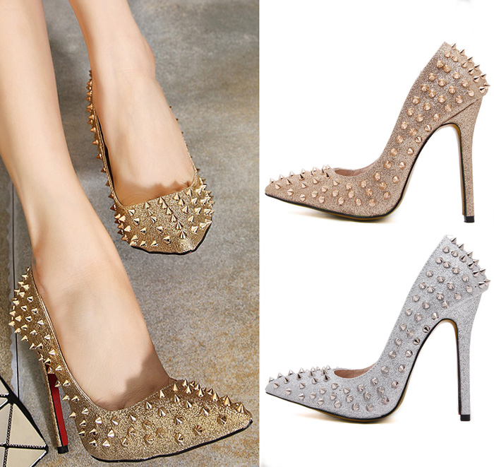 gold high heels with spikes   Gommap Blog