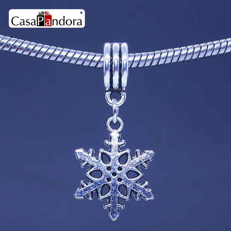 CasaPandora Silver-colored Christmas Snowflake Shape Pendant Fit Bracelet Charm DIY Bead Jewelry Making Pingente Berloque