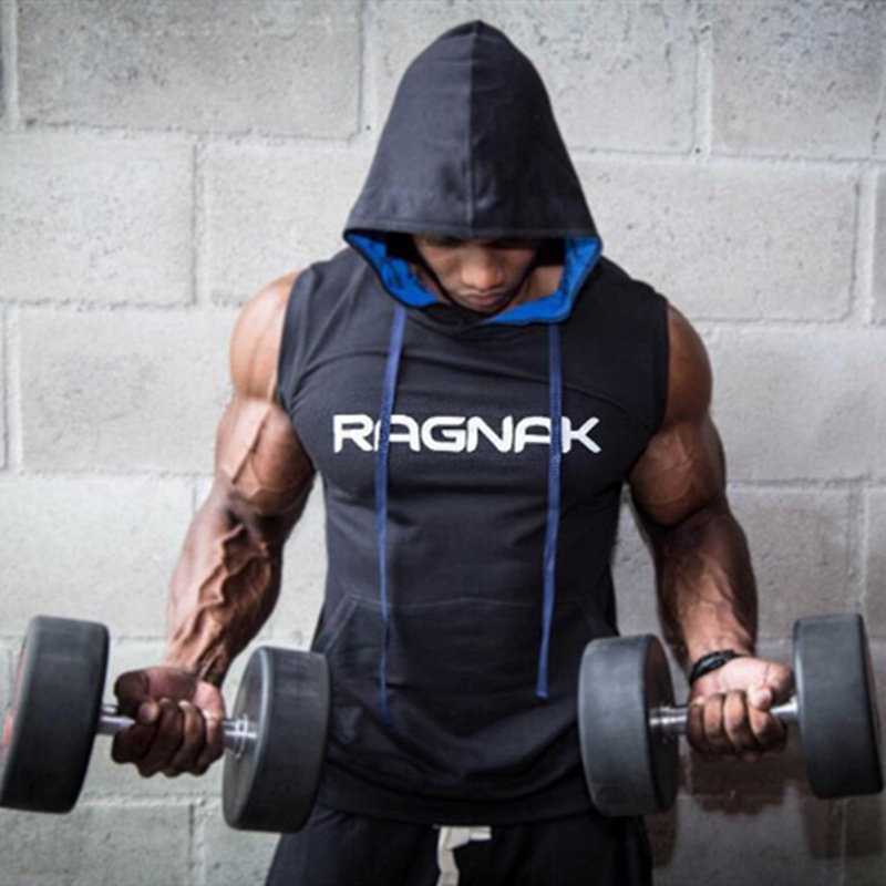 Men Bodybuilding Cotton   Tank     Top   Gyms Fitness Hooded Vest Sleeveless Hoodie Male Summer Casual Jogger Workout   Tops   Sweatshirt