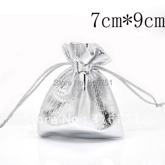 100 Pcs Silver Plated Fabric Gift Bags with Drawstring 7x9cm(w01809 X 1) AA